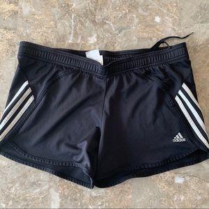 Adidas black lined shorts, size Small